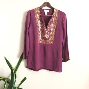 Soft Surrounding || Lined Gold Sequins Blouse